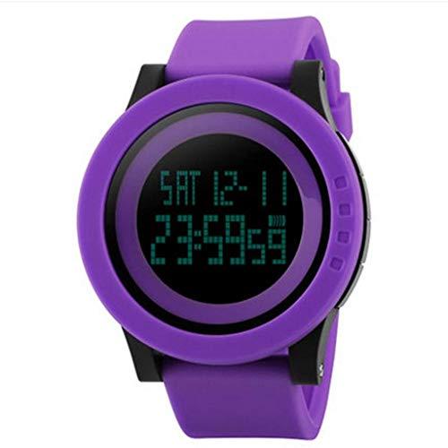 APcjerp Einfache Sport-Uhr elektronische Uhr leuchtendes wasserdichtes Multifunktionsuhr (Farbe: Pink) (Color : Purple)
