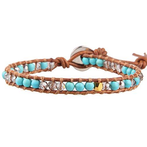 KELITCH Armbänder Damen Herren Türkis Perlen Hellbraun Leder Sommer Bewegung Damen Freundschaftsarmbänder Armband - #D