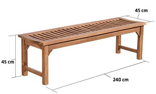 CLP Teakholz Garten-Bank HAVANA V2 ohne Lehne, Teak-Holz massiv (bis zu 8 Größen wählbar) 240 x 45 x 45 cm - 8
