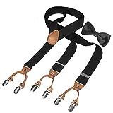 HBF Hosenträger mit den 6 starken Clips und Fliege KIT mehrfarbig elastisch Y-formoig Länge für Damen und Herren Playshoes in verschiedenen Designs (Schwarz)