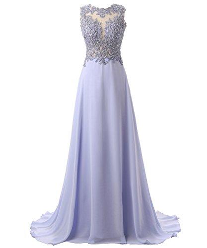Callmelady Abendkleider Lang Spitze Elegant Ballkleider Damen Abiballkleid Cocktailkleid (Lavendel,...