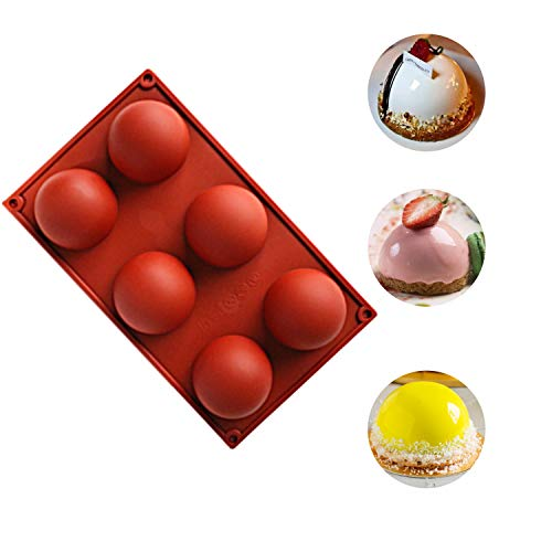 Chocolate Silicone Mold Large 6 Holes, Semi Sphere Half Sphere Silicone Baking Molds for Christmas and Wedding Cake Decor Making Chocolate, Cake, Jelly, Dome Mousse (Chocolate, Large-1PC)