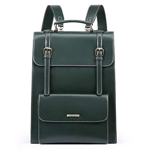 ECOSUSI Laptop Rucksack Damen für 15,6 Zoll Schulrucksack Mädchen Leder Daypack mit Laptopfach Wasserabweisend Grün