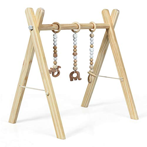 Find Cheap BABY JOY Portable Wooden Baby Gym, Foldable Baby Play Gym Frame with 3 Wooden Baby Teethi...