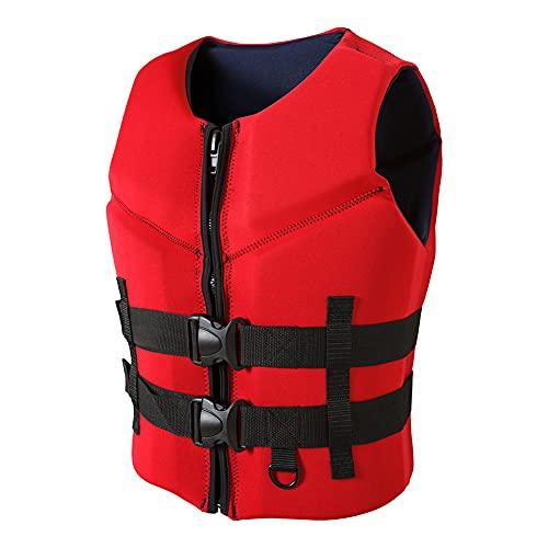 Chaleco Salvavidas, Chaleco Salvavidas para Adultos, Ajustable, Utilizado para Kayak, Remo, Embarque Y Pesca, Unisex Adulto, Chaleco Salvavidas Flotante Hombre/Red/XL