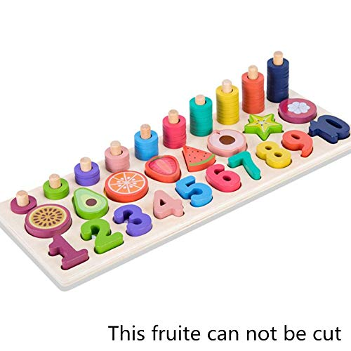 Toy Fruit Number Math Sorting Puzzles Blocks Counting Shape Stacker Wooden Montessori Preschool Learning Toys for Toddlers 3 Year Ol (Color : Army Green)
