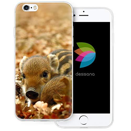 dessana - Cover protettiva per Apple iPhone 6/6S Plus, motivo maialino di cinghiale, trasparente