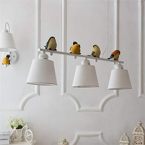 JIN Araña Útil Beige Shade Nordic Pastoral Bird Chandelier Comedor Habitación Arte Arte Decorativo Lámpara Colgante