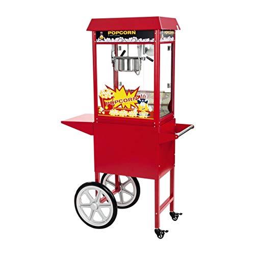 Royal Catering Machine À Popcorn Professionnelle RCPW-16E (1600 W, 5 Kg Heure, 16 l h, Marmite ø18,5 cm, Revêtement Téflon, Rouge, Chariot, Utilisation Mobile)