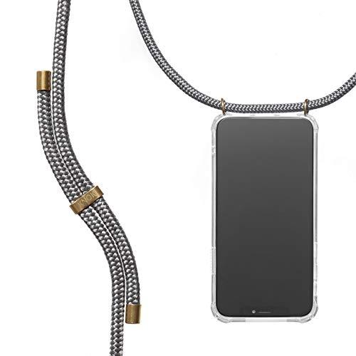KNOK Handykette Kompatibel mitHuawei Mate 10 Pro- Silikon Hülle mit Band - Handyhülle für Smartphone zum Umhängen - Transparent Case mit Schnur - Schutzhülle mit Kordel in Grau