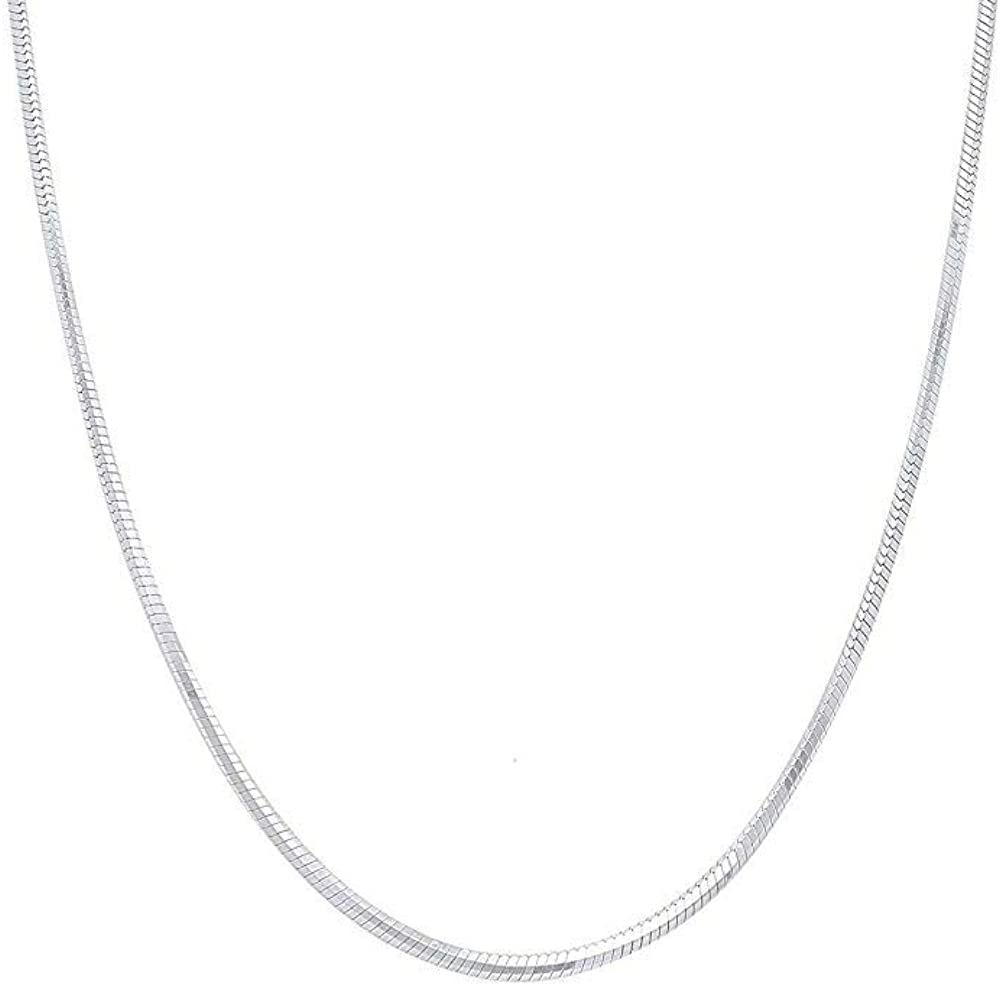Sterling Max 84% OFF Silver 2MM 2.5MM 3MM 4MM Solid Year-end gift Round Chai Snake 5MM