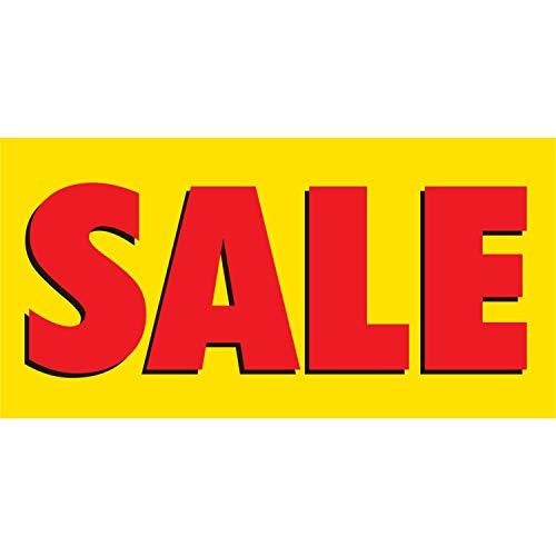 HALF PRICE BANNERS | Sale Vinyl Banner -Indoor/Outdoor 2X4 foot -Yellow | Includes Zip Ties | Easy Hang Sign-Made in USA