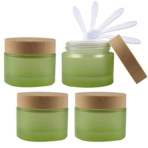 TIANZD 4 Pieza Vacíos Verde Envases Cosmética Vidrio 50 ml Tarro de Cosmética de Cristal 50 g con Inners Tapa Botella de Crema para Cremas Hidratantes Loción Ungüento