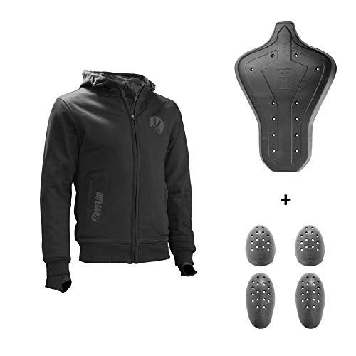 VFLUO Full Protect Sweatshirt™, Sudadera Motocicleta con Capucha 100% de Kevlar Forrada, Reflectantes 3M Technology™, Protección íntegra antichoque Ultra Suaves SAS-Tec™, Negro, V Motociclista, S