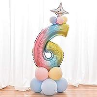 Mainiusi 数字バルーン 誕生日 飾り付け 高さ約120cm組み合わせ 番号 風船 パーティー飾り バースデー 結婚式 記念日 プロポーズ お祝い おしゃれ デコレーション 男の子、女の子 14点 (数字6)