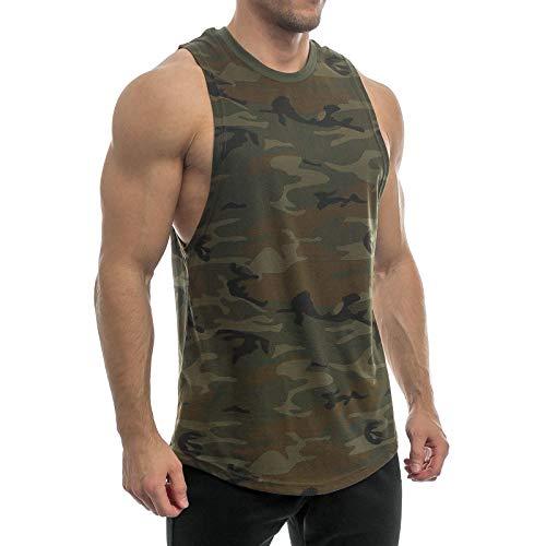 Sixlab Round Cut Off Tank Top Herren Muskelshirt Gym Fitness (L, Khaki Camo)