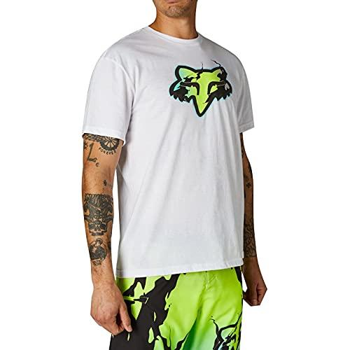 Fox Racing Pyre Short Sleeve T-Shirt Camiseta, Color Blanco, L para Hombre