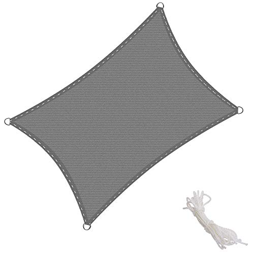 KingShade Rettangolare HDPE Vela Parasole, Resistente agli Agenti Atmosferici, Protezione Raggi UV per Giardino, Balcone e Terrazza