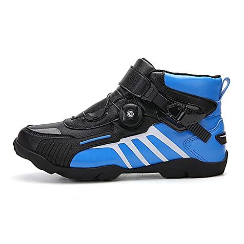 RTY Zapatillas de Ciclismo Antideslizantes, Zapatillas de Bicicleta de Carretera y Montaña Transpirables, Zapatillas Deportivas Asistidas,Azul,44