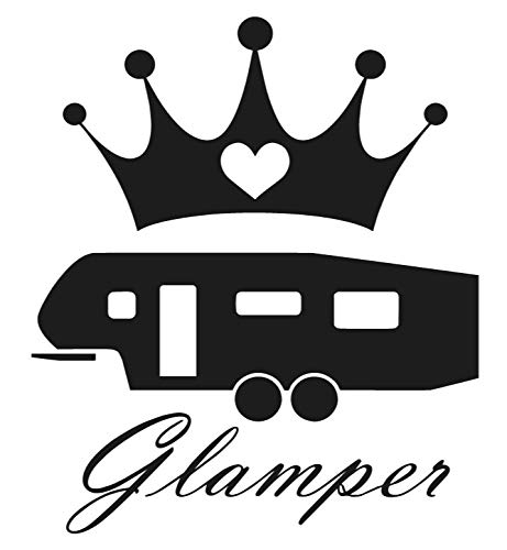 "Glamper 5th wheel sticker - Decal [BLACK] 5"" Funny RV Camper fifth Wheel Sticker, redwood, coachmen, keystone, crossroads, palomino, Forest River, Shitters Full, glamping sticker 5th wheel fifth"
