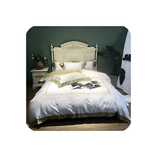 Juego de Cama de Hotel de algodón Egipcio Rosa Blanco Bordado Queen/King Size Juego de Cama Funda nórdica