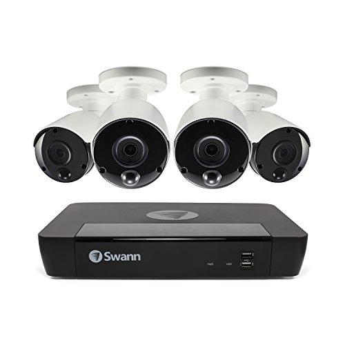 Sistema de Seguridad Swann de 8 Canales: NVR-8580 4K Ultra HD con Disco Duro de 2 TB y 4 cámaras de Tipo Bala 4K con Sensor térmico NHD-885MSB