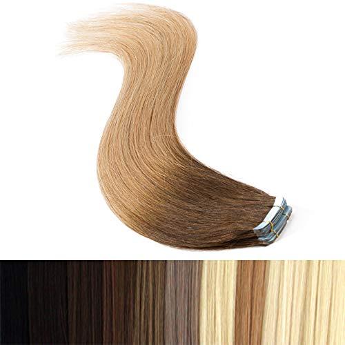 45cm Tape in Extensions Echthaar Ombre Remy Human Hair Haarverdichtung Haarverlängerung glatt 50g 20 stück X 4cm #4T27 mittel braun/dunkelblond