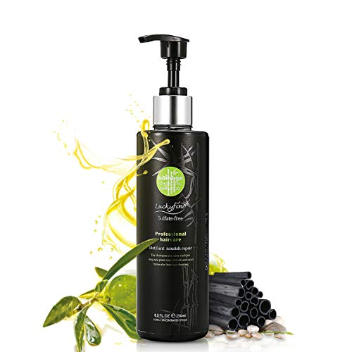 Luckyfine Champú de Carbón para Limpieza Profunda Champú Sin Sulfatos Anti-Caída Control de Aceite Nutrir el Cuero Cabelludo de las Raíces 200 ml