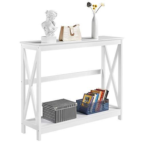 Yaheetech Mesa de Consola Recibidor Blanca Mesa de Entrada Estrecha Clásica Mueble Recibidor Almacenaje para Salón, Pasillo Estantes con Forma X Mesa Auxiliares 101x30x81cm