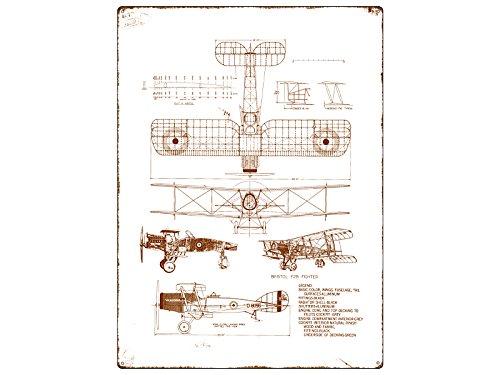 Interluxe METALLSCHILD WANDSCHILD Blechschild Flugzeug BAUPLAN Modellbau-Werkstatt
