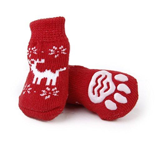 LEORX Calcetines del animal doméstico de la Navidad con renos estilo impresiones de la pata de perro cachorro Cat-Pack de 4