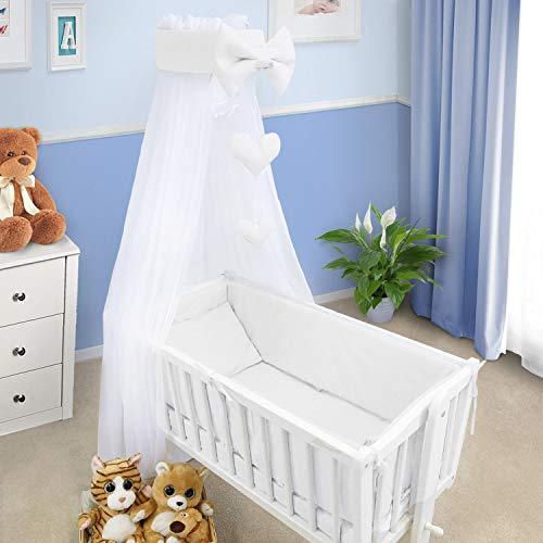 Baby Bettwäsche Set Wiege Wiege 3 Teile Kissen Abdeckung Bettbezug Nestchen Für Wiege 90x40CM - Weiß