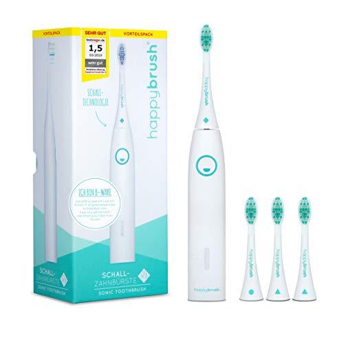 happybrush® Elektrische Schallzahnbürste Refurbished | B-Ware Elektrische Zahnbürste Schall VIBE 3 Weiß mit 4 Aufsteckbürsten