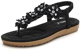 HPLY Women's Summer Gladiator Sandals Boho Beach T-Strap Flat Sandals