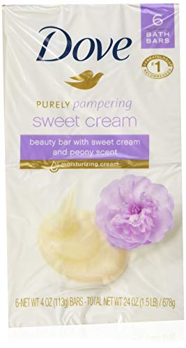 Dove Purely Pampering Beauty Bar, Sweet Cream & Peony, 4 oz bars, 6 ea (Pack of 2)