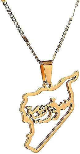 NC190 Collar de Moda Tarjeta de Acero Inoxidable Collares Pendientes de Siria Mapa de Siria Joyería con Encanto
