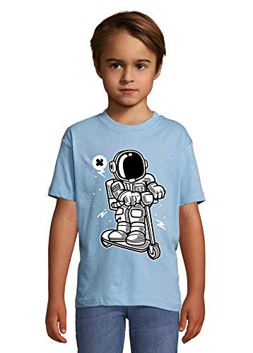 Iprints Cartoon Styled Astronaut Scooting Along Scooter La Camiseta del niño Large