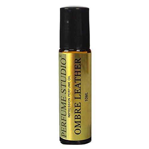 IMPRESSION Perfume Oil with similar Fragrance Notes to TF Ombre Leather Cologne for Men; 10ml Amber Glass Roller, Black Cap; 100% Pure (Perfume Studio VERSION/TYPE Fragrance; Not Original Brand)