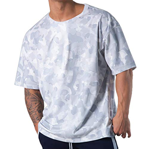 Magiftbox Camisas de entrenamiento para hombre de manga corta de gran tamaño, casual, gran hip-hop, gimnasio, camisetas de calle para hombres T39 - blanco - Medium