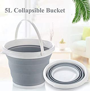 Collapsible Plastic Bucket Pail Fishing Bucket Portable Outdoor Travelling Foldable Multipurpose Bait Bucket Container with Aeration Lid Cover for Ventilation with Handle Blue 5L//10L