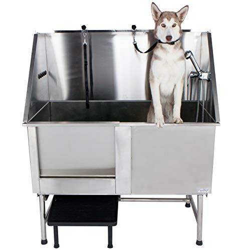 PawBest Stainless Steel Dog Grooming Bath Tub with Ramp, Faucet, Hoses and Loops (48' Bathtub)
