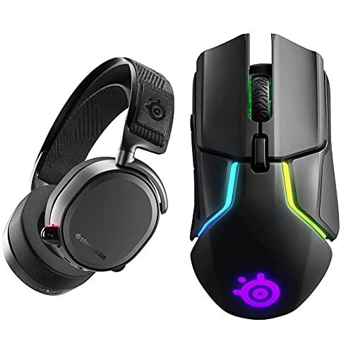 SteelSeries Arctis Pro Wireless - Casque Gaming sans Fil (2,4 G & Bluetooth) - Pilotes d'Enceintes Haute résolution - Noir & Rival 650 - Souris de Jeu Quantum Wireless - Double capteur Optique