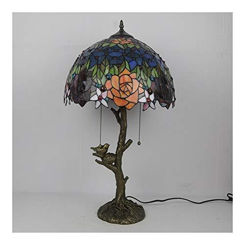 Estilo de Tiffany Wisteria 2 luz de lámpara de escritorio Rose y libélula lámpara de mesa del vidrio manchado ancha 16Inch de la vendimia de la antigüedad por Habitación- niños