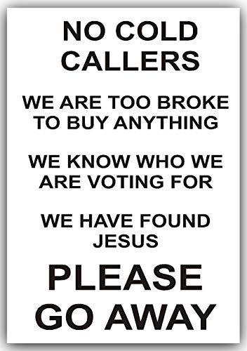 Platina Plaats 1 x Geen Koud bellen, Ga Af-Zwart op Wit-Jezus, Sticker, Teken, Opmerking, Waarschuwing, Broke, Voorkant, Deur, Post,Doos, Mail, Prullenbak, Junk
