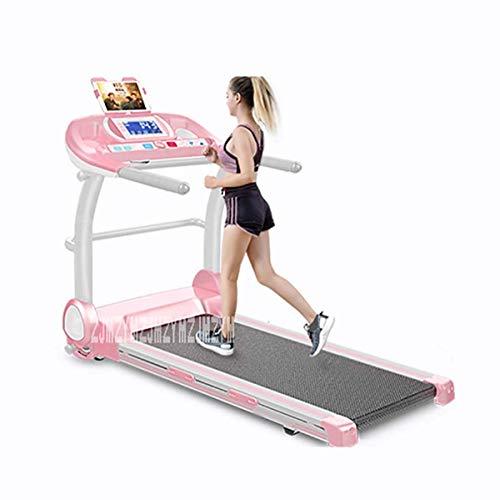 HAOSHUAI Faltbare Laufband, elektrische Low Noise Herzfrequenzsensor Compact laufende Maschine mit Handlauf Heimfitnessgeräte laufende Maschine Elektrischer Gehmaschine 220V (Color : Pink)