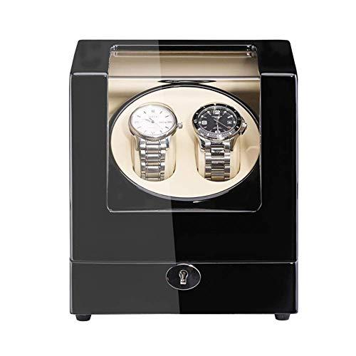 ZHTY Enrollador de Reloj Doble para Relojes automáticos Carcasa de Madera Pintura de Piano Adaptador Exterior y Motor silencioso Alimentado por batería Cajas Giratorias para Relojes