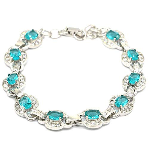 HJPAM Fashion Aquamarijnarmband temperament eenvoudige verzilverde armband dames partij vriendschap fijne sieraden