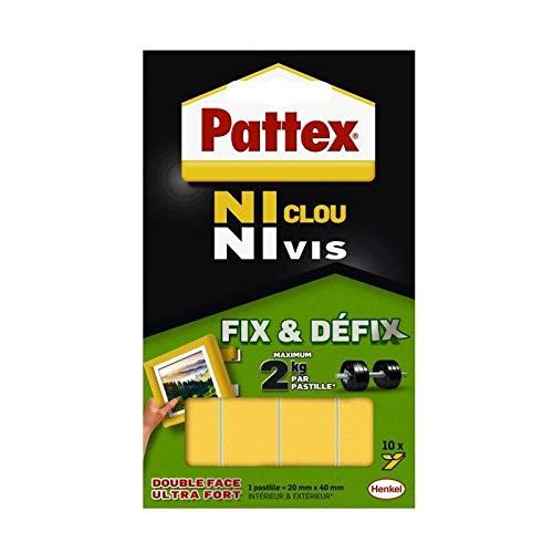 PATTEX Lot de 12 Pochettes de 10 pastilles adhésives Fix&Defix