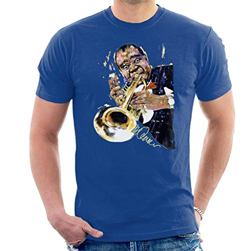 VINTRO Louis Armstrong mit Trompete Herren T-Shirt Original Portrait von Sidney Maurer Professionell bedruckt Gr. XL, königsblau