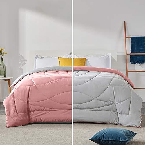 Sleep Zone Daunendecke für alle Jahreszeiten, weiche Temperaturregulierung, wendbar, Pink + Grau, für Doppelbett